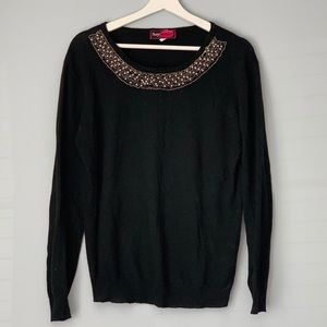 Say What? Black Sweater with Embellishment